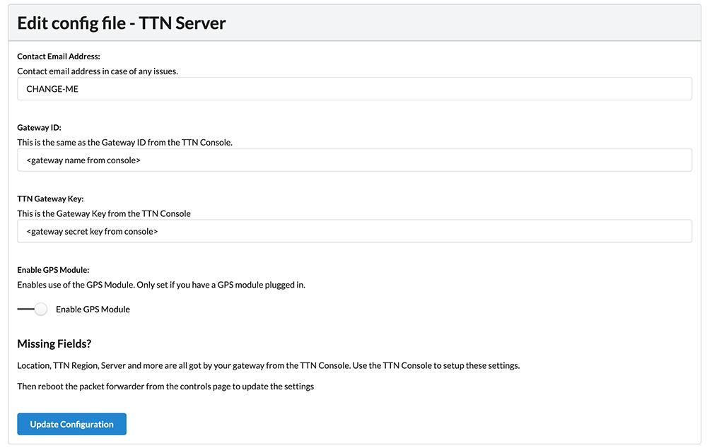 Edit config file - TTN Server