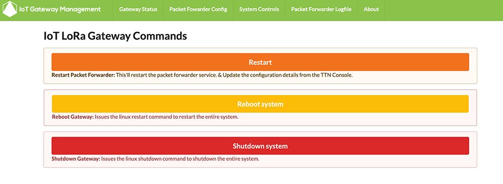 IoT Lora Gateway System Controls Restart