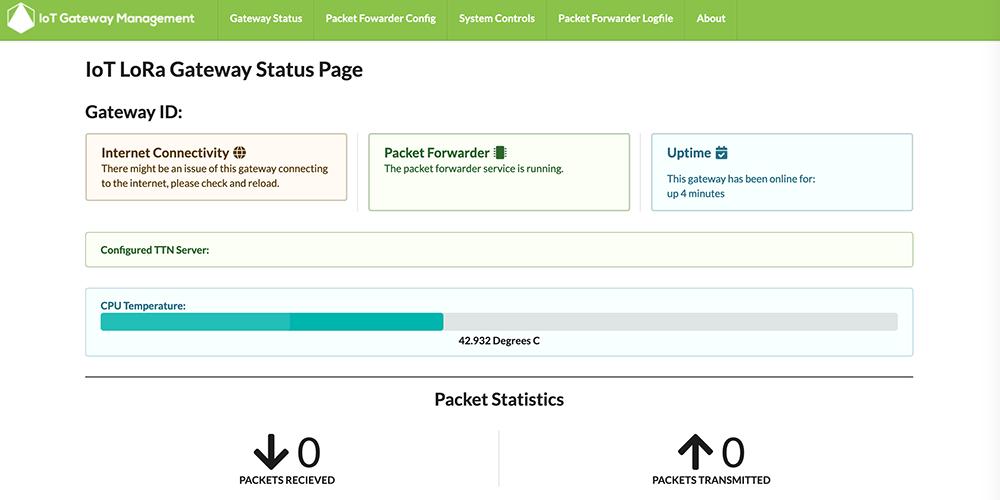 IoT LoRa Gateway Status Page