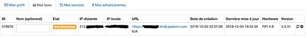 Configuration de DNS Jeedom Box