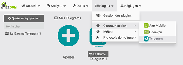 Jeedom Telegram Equipement