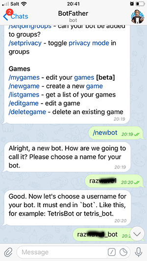 Telegram usernamebot
